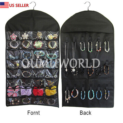 Hanging Jewelry Organizer Necklace Closet Bag Holder Travel Display Case Black