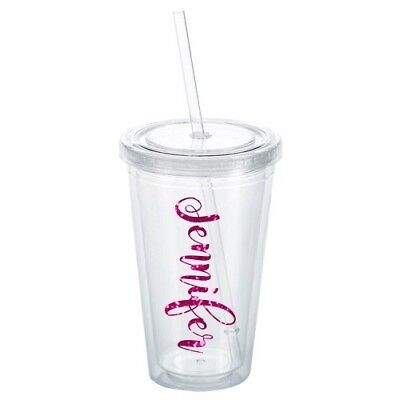 PERSONALIZED TUMBLER GLITTER NAME CUP 16 OZ DOUBLE WALL BPA FREE  WITH STRAW