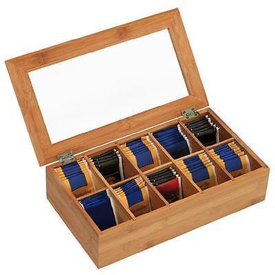 Kesper Teebox Teekiste Teedose Teekasten 10 Fächer aus Bambus 50901