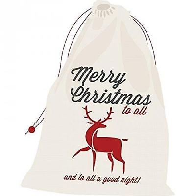 Navidad Grande Saco Algodón Regalos Saco para Navidad Rojo Reno Regalo Saco