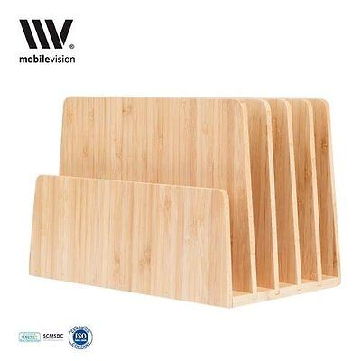 New Mobilevision Bamboo Desktop File Folder Organizer And Paper Tray 5 Slots