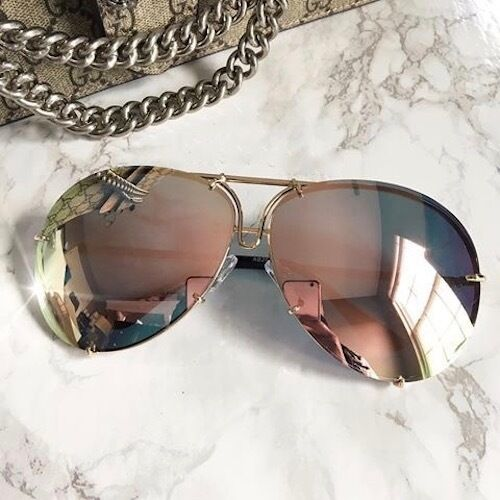 "MIRROR ""Posche"" OVERSIZED Women Sunglasses Aviator Flat Top"