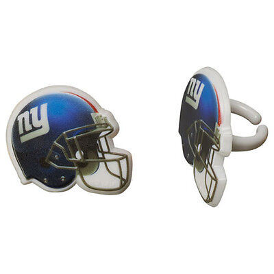 Nfl Party Favors (12 New York Giants NFL Football Cupcake Rings Toppers Decorations Party)