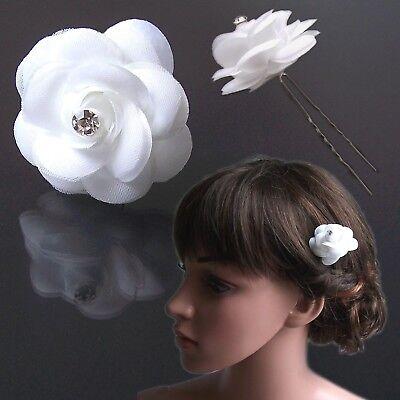 Haarblume Rose weiß 5cm Haarschmuck Hochzeit Haarnadel Braut Kommunion H5160*