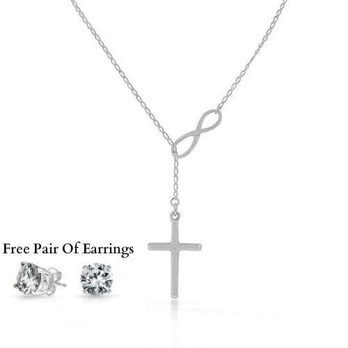 Silver Italian Infinity Lariat Charm Cross Pendant Necklace Womens Jewelry Gift Fashion Jewelry
