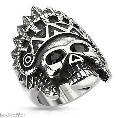 BOLD MENS 316L STAINLESS STEEL SILVER APACHE HEADRESS SKULL RING WITH ONYX EYES - Apache Headress