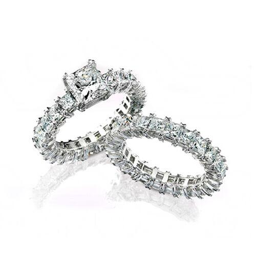 6.00 Ct Princess Cut Diamond Eternity Bridal Ring Set 14K White Gold E,VS1 GIA