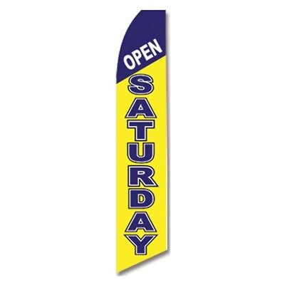 Open Saturday Banner Flag Only Advertising Sign Swooper Feather Flutter