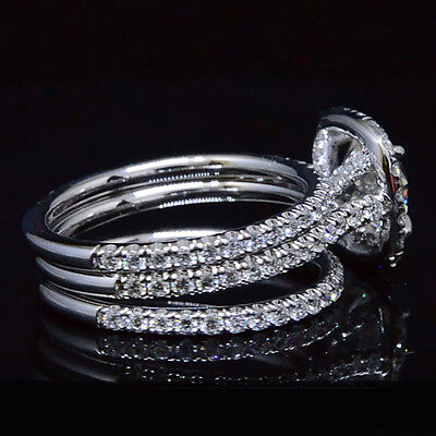 Lovely 2.68 Ct Round Cut Halo Diamond Engagement Ring w/ 2 Bands G,VS2 GIA 14K  1