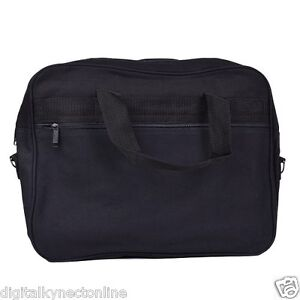 Notebook-Canvas-Bag-w-Shoulder-Strap-Fits-Up-To-15-034-Laptop-Black
