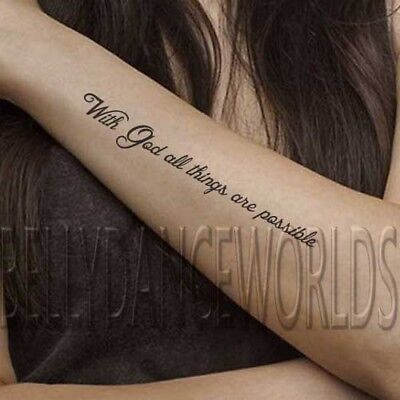SET OF 2 INSPIRATIONAL CHRISTIAN BIBLE GOD TEMPORARY TATTOO QUOTE BODY STICKER](Tattoo Bible Quotes)