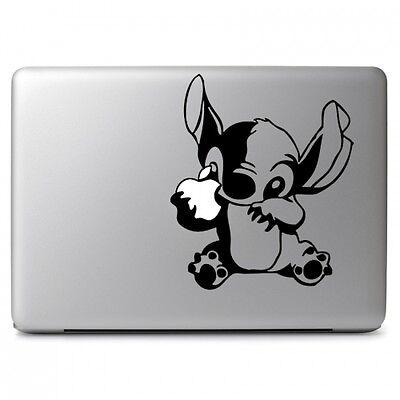 Disney Stitch Eat Apple for Apple Macbook Air / Pro Laptop Vinyl Decal Sticker