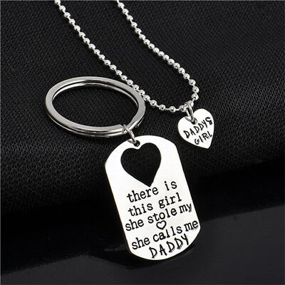 Father Daughter Keychain Dog Tag and Matching Heart Necklace Set , Dad Gift (Gift Tag Ideas)