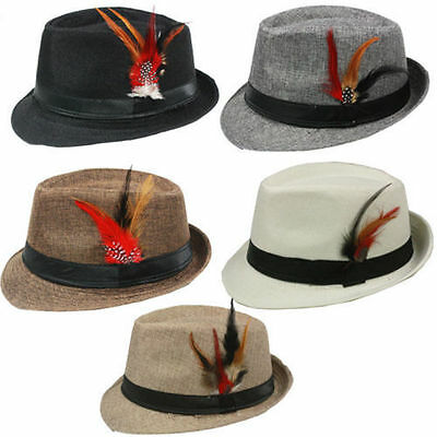 FEDORA HAT with BAND & FEATHER Trilby Gangster Panama Classic Jazz Vintage Style (Felt Hat With Feather)
