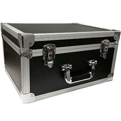 "NEW DJ 7"" RECORD BOX / FLIGHT CASE HOLDS 200 BLACK VINYL - FULLY LINED + LOCKS"