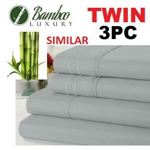 NEW BAMBOO 3PC BED SHEET SET TWIN HA-1123T 229775725 BAMBOO LUXURY 9800 TWIN DEEP POCKET WRINKLE FREE ULTRA SOFT BEDD...