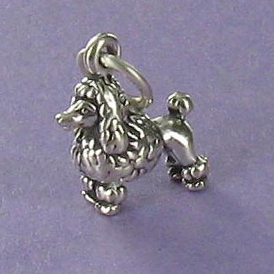 Tiny Poodle Dog Charm Sterling Silver for Bracelet Fifi French Toy Standard