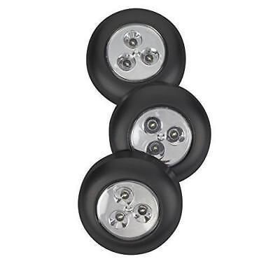 - 5 Pack Stick-on Push Light 3LED Battery-powered Night Light Black