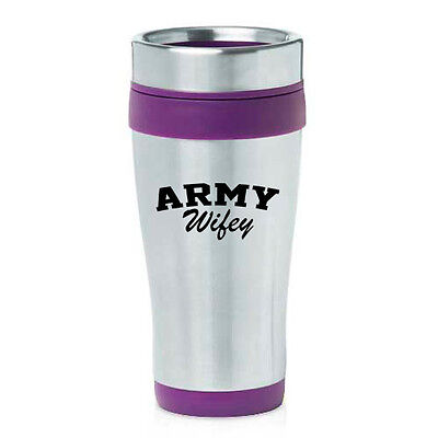 Stainless Steel Insulated 16 oz Travel Coffee Mug Cup Army Wifey Wife