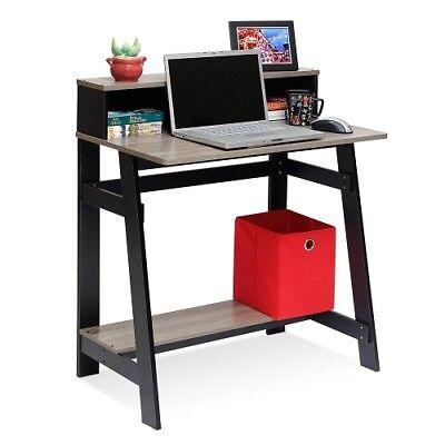 Desk Small W Hutch Student Shelf Storage Office Black Grey Modern A Frame Dorm