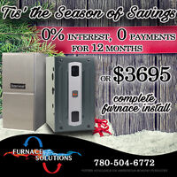 Furnace Sale!! $3695/ No Payments, 0% Interest For 12 Months
