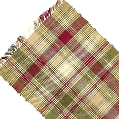 New Primitive Country Cottage Green Wine Red Plaid Woven Table Runner 54