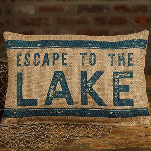 Escape to the Lake 12 x 8 Burlap Decorative Throw Pillow