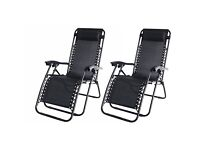 Set of 2 reclining garden chairs