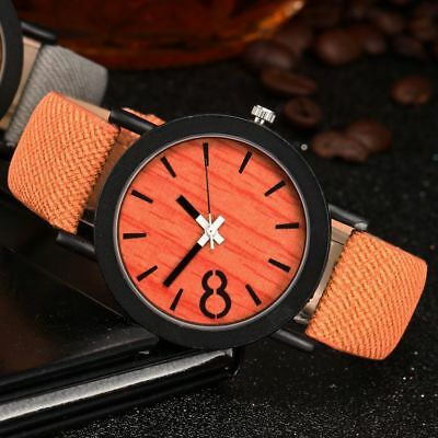 Handcrafted Bamboo Wood Quartz Men's Watches Wooden PU Strap Women's Wristwatch