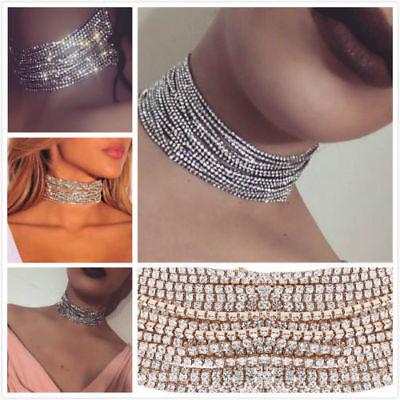 Women Full Crystal Rhinestone Chunky Choker Collar Necklace Jewelry Hot