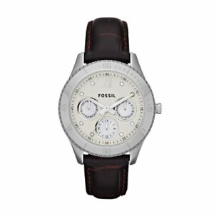 NEW Fossil Women's Stella ES3103 Brown Leather Quartz Watch