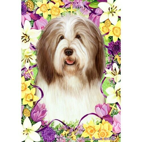 Easter House Flag - Brown and White Bearded Collie 33482