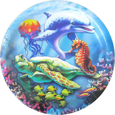 OCEAN FRIENDS Sea Turtle LARGE PAPER PLATES (8) ~ Birthday Party Supplies Dinner](Turtle Party Supplies)