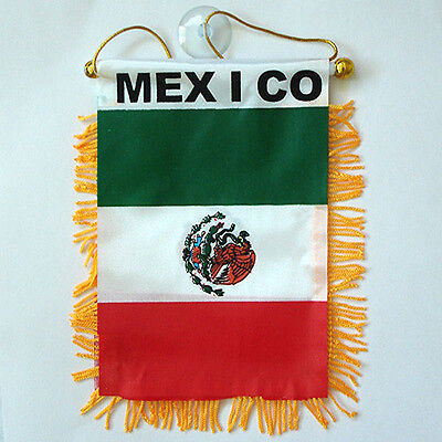 "2 PACK - 4""x6"" MINI BANNER CAR WINDOW MIRROR COUNTRY FLAG - MEXICO"