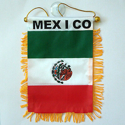 "2 PACK - 4""x6"" MINI BANNER CAR WINDOW MIRROR COUNTRY FLAG - MEXICO"