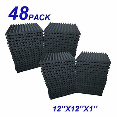 "48 Pack Acoustic Foam Panel Wedge Studio Soundproofing Wall Tiles 12"" X Black"