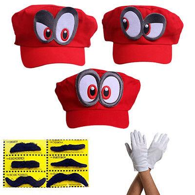 Super Mario Mütze ODYSSEY ROT mit Augen Karneval Fasching Verkleidung Cappy Hut
