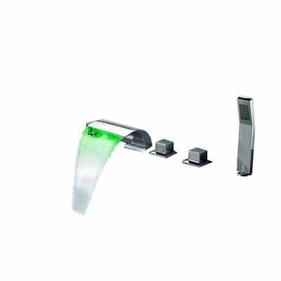Modern Tub Deck Mount LED Waterfall Roman Bathtub Faucet & Handshower in -