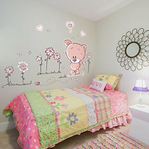 Teddy Bear Childrens Kids Nursery Baby Bedroom Wall Stickers Mural Art, Pink