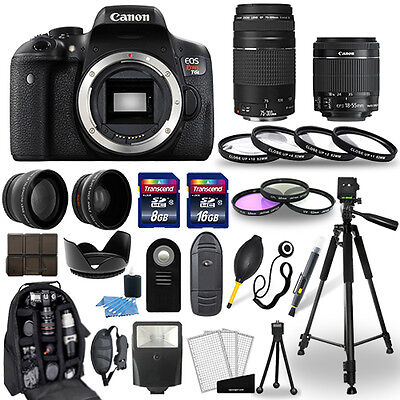 Canon Eos Rebel T6I Camera + 18-55mm stm + 75-300mm + 30 Piece Accessory Bundle