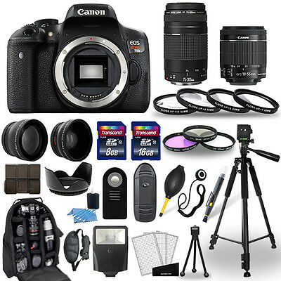 Canon Eos Rebel T6I Camera + 18-55mm stm + 75-300mm + 30 Pie