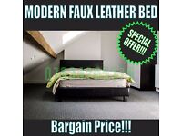 Modern Double Faux Leather Bed, Bargain Price, Bed Frame Only ( Black )