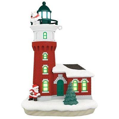 2017 Hallmark Holiday Lighthouse Santa And Polar Ornament Magic Cord