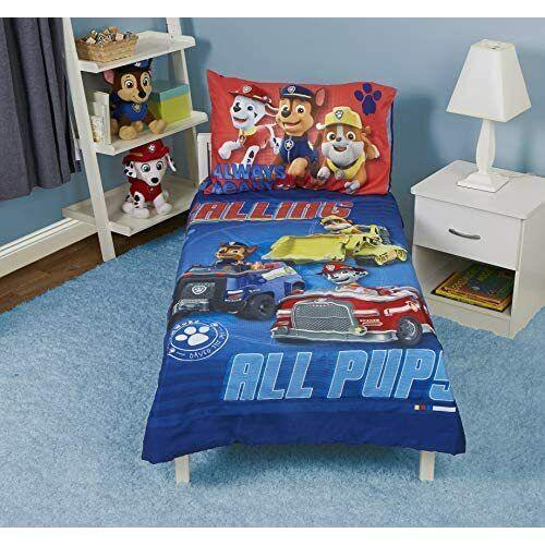 PAW Patrol Calling All Pups 4 Piece Toddler Bedding Set, Blu