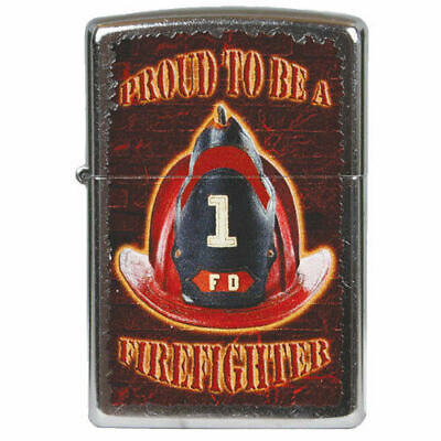 FD Proud To Be A Firefighter Fire Fighter Zippo Lighter Brushed Chrome for sale  Shipping to India