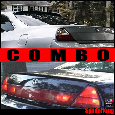 COMBO Spoilers (Fits: Accord 1998-02 2dr) Rear Roof Wing & Trunk Lip 284R/244L