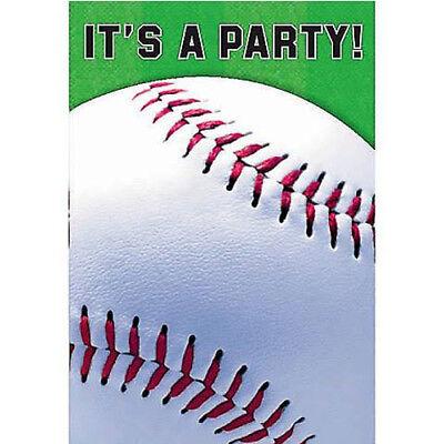 BASEBALL INVITATIONS (8) ~ Sports Birthday Party Supplies Invites Cards Notes](Baseball Birthday Supplies)