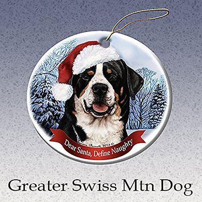 Holiday Pet Gifts Greater Swiss Mountain Dog Santa Hat Dog Porcelain -