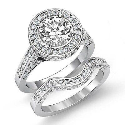 Classic Round Diamond Engagement GIA F VS1 14k White Gold Bridal Set Ring 3.5ct