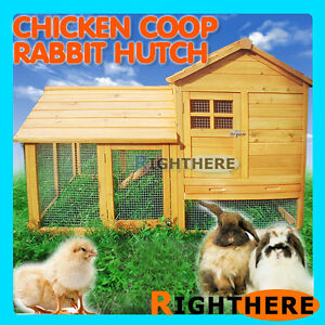 2-LIVING-AREAS-CHICKEN-COOP-WITH-UNDER-RUN-RABBIT-GNINEA-PIG-FERRET-CAGE-HUTCH